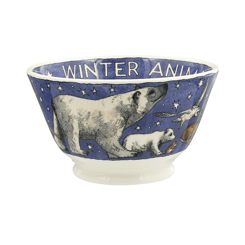 Small Old Bowl Winter Animals