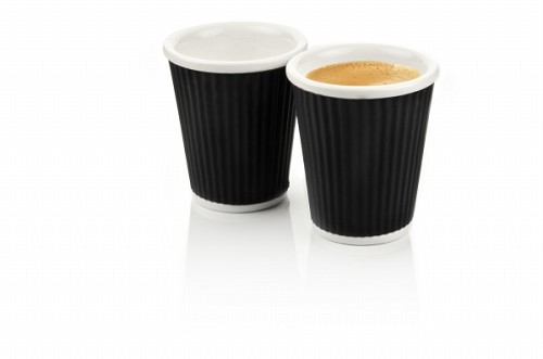 Set of 2 Coffee Cups 18cl Black