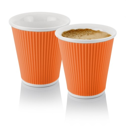 Set of 2 Coffee Cups 18cl Orange