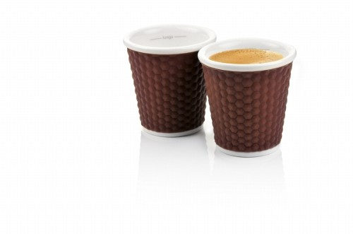 Set of 2 Honeycombs Expresso Cups 10cl Brown