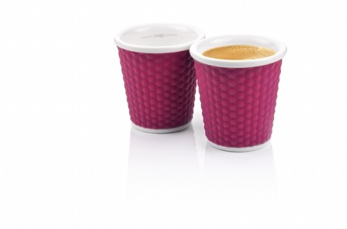 Set of 2 Honeycombs Espresso Cups 10cl Eggplant