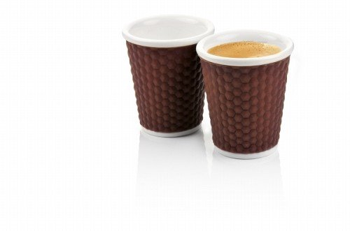 Set of 2 Honeycombs Coffee Cups 18cl Brown