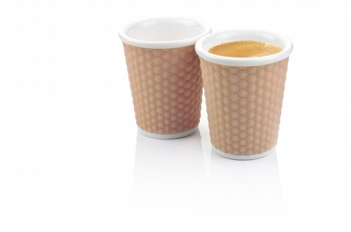 Set of 2 Honeycombs Coffee Cups 18cl Nutmeg