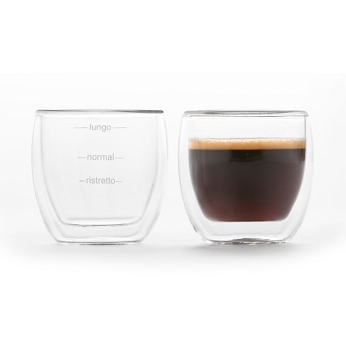 2x Duplex double wall glass cup 80ml