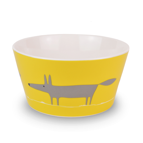 Cereal Bowl Mr Fox - charcoal & yellow